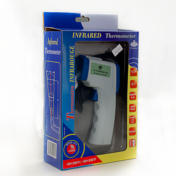 termómetro laser en caja